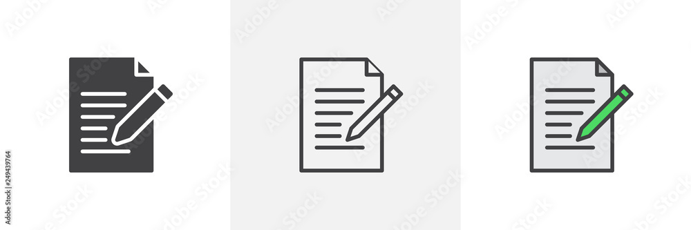Fototapeta Writing pad icon. Line, glyph and filled outline colorful version, Paper clipboard and pencil outline and filled vector sign. Edit document symbol, logo illustration. Different style icons set