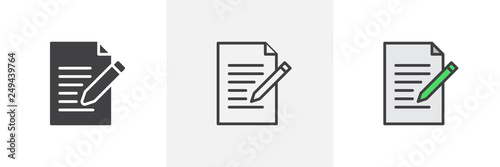 Writing pad icon. Line, glyph and filled outline colorful version, Paper clipboard and pencil outline and filled vector sign. Edit document symbol, logo illustration. Different style icons set