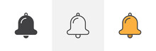 Notification Bell Icon. Line, Glyph And Filled Outline Colorful Version, Alarm Bell Outline And Filled Vector Sign. Symbol, Logo Illustration. Different Style Icons Set. Pixel Perfect Vector Graphics