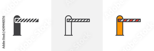 Obraz Automatic car barrier icon. Line, glyph and filled outline colorful version, Parking barrier outline and filled vector sign. Symbol, logo illustration. Different style icons set. Pixel perfect vector - fototapety do salonu