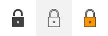 Locked Padlock Icon. Line, Glyph And Filled Outline Colorful Version, Secure Lock Outline And Filled Vector Sign. Security Symbol, Logo Illustration. Different Style Icons Set. Pixel Perfect Vector