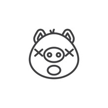 Sleeping Piggy Face Emoticon Line Icon. Linear Style Sign For Mobile Concept And Web Design. Yawning Face Emoji Outline Vector Icon. Pig Year Zodiac Symbol, Logo Illustration. Pixel Perfect Vector