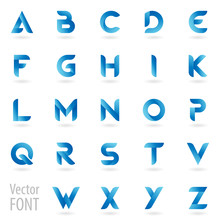 Simple Bold Font Of Blue Gradi...