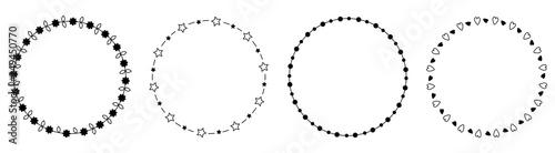 Fényképezés Round circle frame wreath icon set line