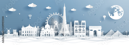 Panorama postcard and travel poster of world famous landmarks of Paris, France in paper cut style vector illustration - 249451364