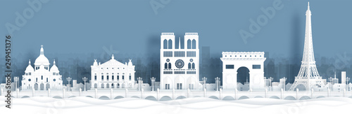 Panorama view of Paris, France skyline with world famous landmarks in paper cut Canvas Print