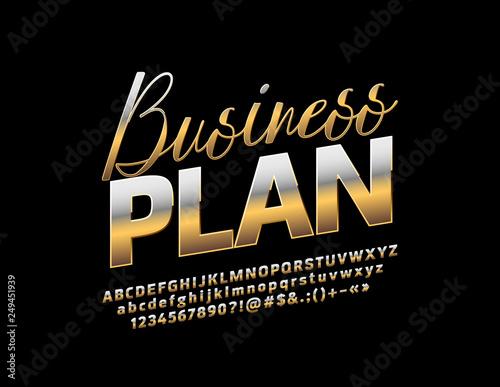 Vector Golden metallic emblem Business Plan  Chic reflective Font
