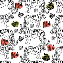 Asian Wild Animals Amur Tiger. Trendy Animalistic Endless Pattern. Exotic Animals. Tropical Elements, Stripes, Dots.  Cute Background For Textile, Wallpaper, Pattern Fills, Covers, Surface, Print.