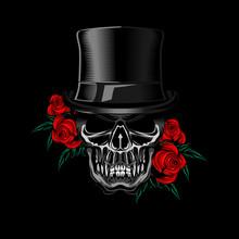 Voodo Skull Rose Vector Illust...