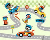 Car race cartoon with funny animals