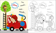 Vector Of Fire Man Cartoon Help A Cat, Coloring Book Or Page