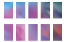 Set Of Blurred Nature Dark Purple Violet Pink And Blue Backgrounds. Smooth Banner Template. Easy Editable Soft Colored Vector Illustration. Ecology Concept For Your Graphic Design.