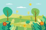 Fototapeta Na ścianę - Spring landscape Vector illustration in flat style