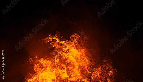 Fotografie, Tablou Texture of burn fire with particles embers