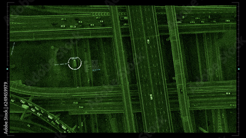 Fotografía  Futuristic HUD satellite car surveillance and identification counter terrorist m