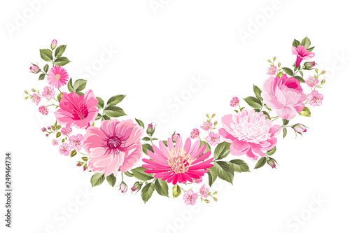 Template Of Spring Invitation Card Rose Garland For Holiday