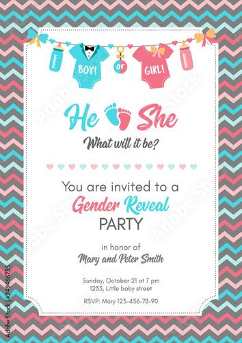 Gender Reveal Invitation Template Baby Shower Party Kaufen Sie