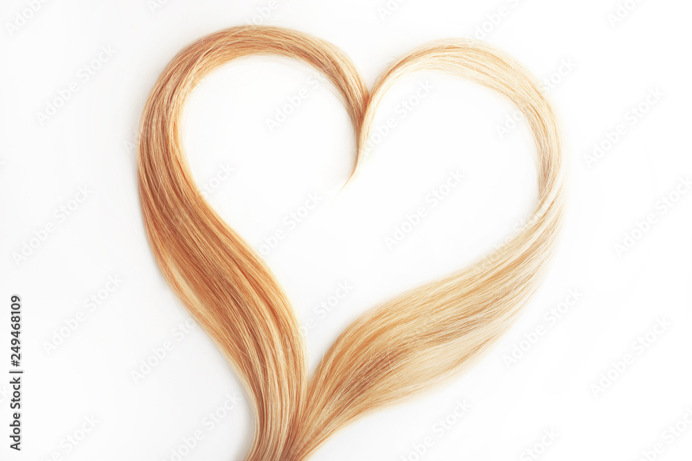 Fototapety, obrazy: strand of blond hair isolated on white. Curls of hair in the shape of a heart