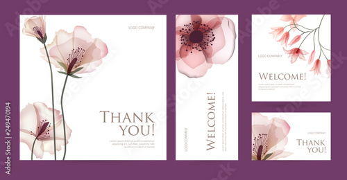 A set of postcard with the words of gratitude. Design template of business cards with abstract spring flowers for the hotel, beauty salon, spa, restaurant, club. Vector illustration - 249470194
