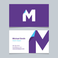 M, Monogram Logo With Business Card Template.