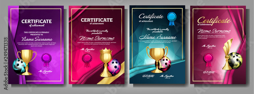 Fotografia, Obraz  Bowling Game Certificate Diploma With Golden Cup Set Vector