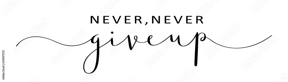Fototapeta NEVER, NEVER GIVE UP brush calligraphy banner