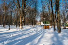 A Gazebo Covered With Fresh Snow In The Roman Parc, Neamt, Romania