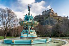 Ross Fountain With Edinburgh Castle In West Princes Street Gardens