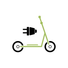 Green Electric Scooter Symbol, Scooter Icon