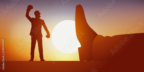 Fotografie, Obraz  Concept de David contre Goliath, avec la destitution du chef et la prise du pouvoir par son subalterne qui devient le nouveau leader après l'avoir renversé