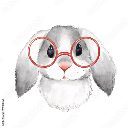 Fotografija Little bunny with glasses. Cute watercolor illustration