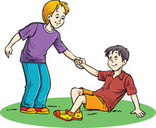 Boy Helping A Boy