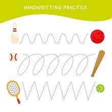 Handwriting Practice Sheet. Basic Writing. Educational Game For Children.  Cartoon Sports Equipment.