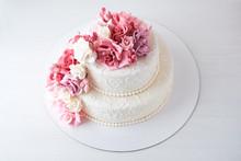 Two-tiered White Wedding Cake ...