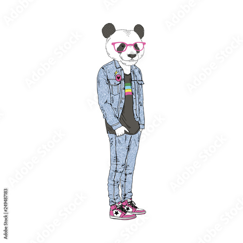 Humanized panda bear man hipster dressed up in retro 80's jeans outfits Canvas Print
