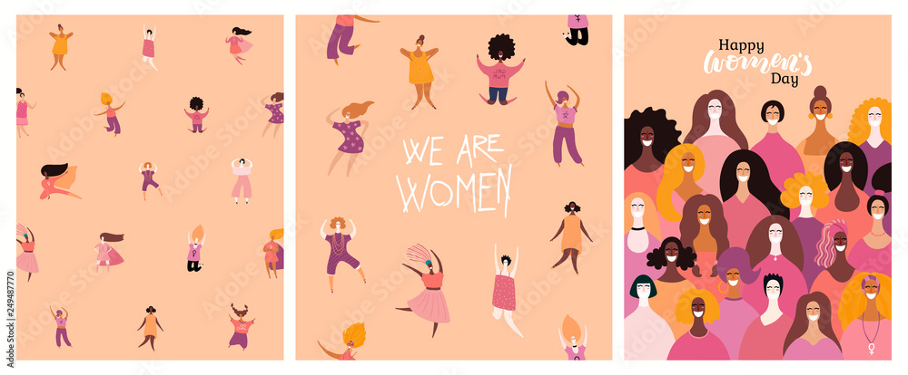 Fototapeta Set of womens day cards with diverse women and lettering quotes. Hand drawn vector illustration. Flat style design. Concept, element for feminism, girl power, poster, banner, background.