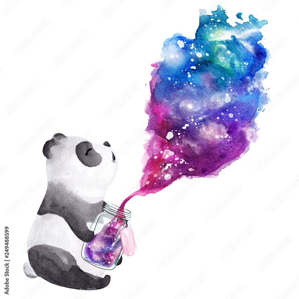 Hand drawn watercolor panda holding  galaxy glass jar