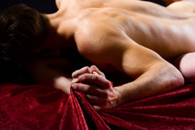 Sex And Pleasure Concept. Feeling Of Intense Sexual Pleasure. Hand Squeeze Bedclothes. Moaning In Sex Ecstasy. Naked Lovers Passionate Sex. Passionate Couple Have Sex Make Love. Female Orgasm