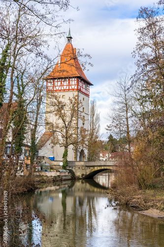 Germany, Waiblingen city gate and bridge reflecting in river rems water Canvas Print