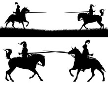 Horseback Knights Fighting In A Jousting Tournament - Black Vector Silhouettes Of Warriors With Pikes Riding Horses