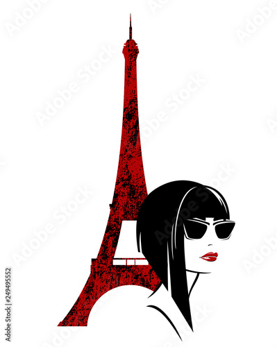 Obraz stylish brunette woman with asymmetric blunt bob haircut and sunglasses with eiffel tower in the background - parisian fashion model vector design - fototapety do salonu