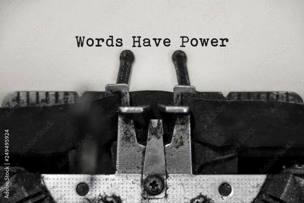 Fototapeta Words have power word with black and white typewriter concept