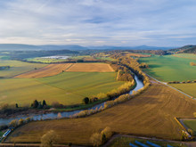 Aerial View Of The River Usk In The Countryside Of Usk, Monmouthshire, Wales