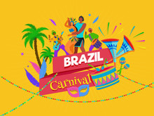 Brazil Carnival Celebration Banner Design With Fun Loving People Character Illustration On Yellow Background.