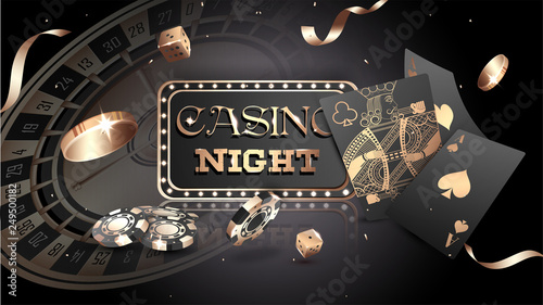 Foto Advertising poster design, Casino Night text with casino chips, coins and playing cards illustration on black background