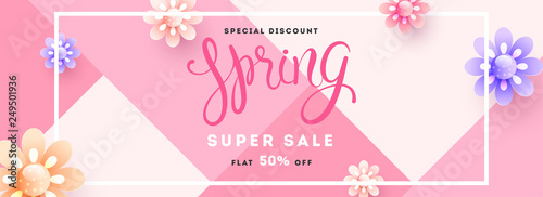 Fototapeta Spring super sale header or banner design with 50% discount offer and decorative paper cut flowers. obraz