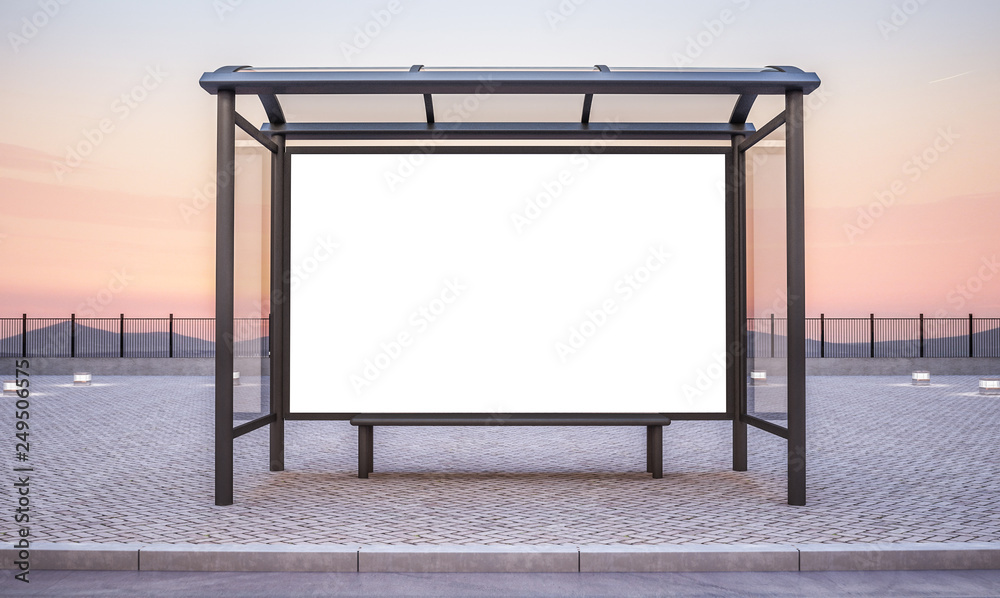 Fototapety, obrazy: bus stop with big horizontal advertisement