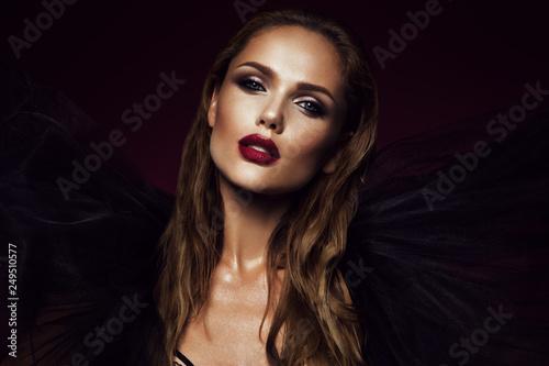 Fototapeta Close-up portrait of beautiful woman with bright make-up obraz