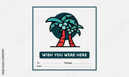 Fotomural Wish you were here card with Palm Tree