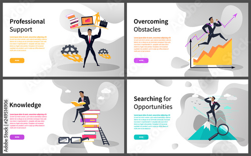 Fotografía  Business career building and growth online web pages vector